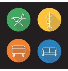 Furniture flat linear icons set vector image vector image