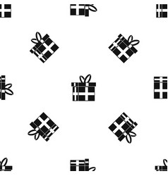 gift in a box pattern seamless black vector image