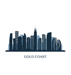Gold coast skyline monochrome silhouette vector