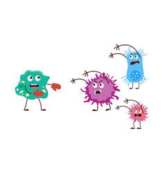 Good and bad bacteria fist fight - cartoon germ vector