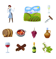 grape and winery icon set vector image