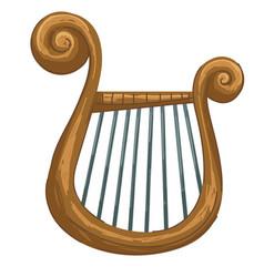 greek musical instrument golden lyra or harp vector image