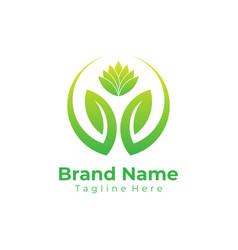 green nature logo ecology logo flat vector image