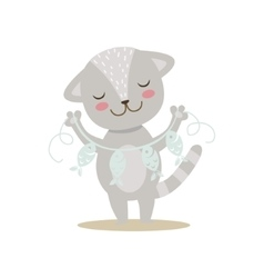 Grey Little Girly Cute Kitten With Paper Garland vector