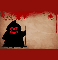 Grim reaper with predatory red eyes silhouette vector