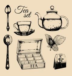 Hand drawn tea set vector