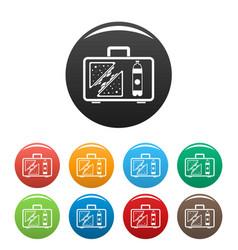 Handbag lunch icons set color vector