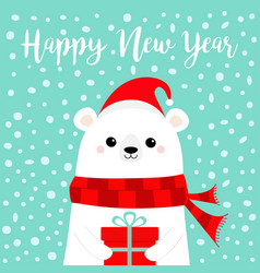 Happy new year white polar bear cub face holding vector