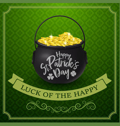 happy st patricks day with golden coins vector image