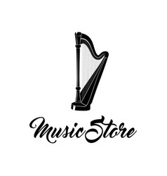 Harp musical instrument music store logo label vector
