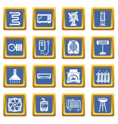heat cool air flow tools icons set blue square vector image