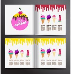 Ice cream brochure design Menu for ice cream shop vector