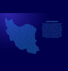Iran map abstract schematic from blue ones and vector