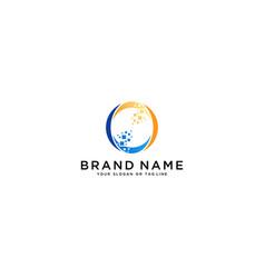 Letter o tech logo design vector