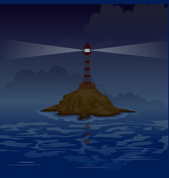 Lighthouse on island at night with rays vector