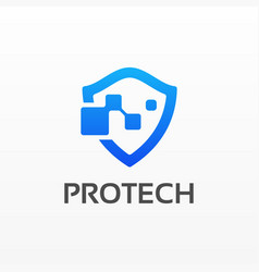 Logo protect gradient colorful style vector