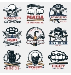 Mafia Fight Emblems In Color vector image