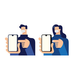 Man and woman point finger to smartphone vector