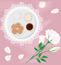 Morning coffee milk sugar vector
