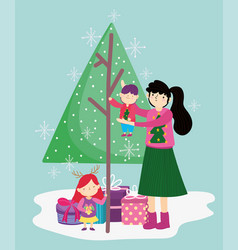 mother carrying little boy and daughter with tree vector image