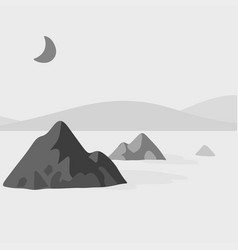 Mountain and lake in the night with moon vector