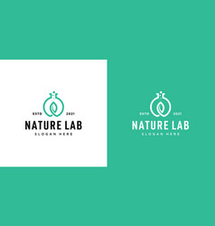 nature leaf lab with molecule logo inspiration vector image