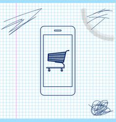 online shopping concept shopping cart on screen vector image