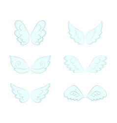 Pairs wings angelic feathers and plumage set vector
