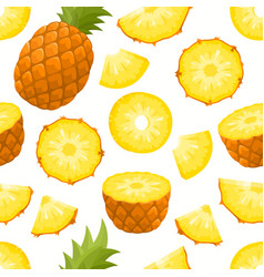 pattern with cartoon pineapple isolated on vector image