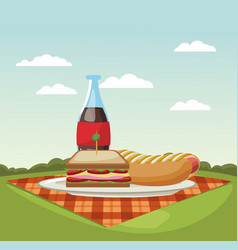 Picnic in the park cartoons vector
