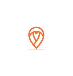 pin position line shape logo vector image