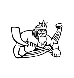 poseidon with ice hockey stick and puck sports vector image