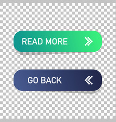 read more and go back button isolated web design vector image