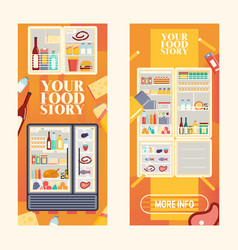refrigerator full products set banners vector image