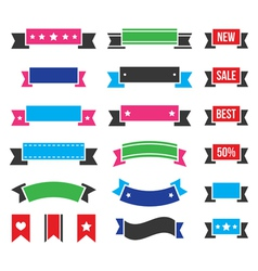 Retro ribbons colorful vintage bookmarks set vector
