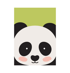 Round panda s face isolated on green backdrop vector