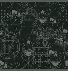 Seamless pattern occult signs and human skulls vector
