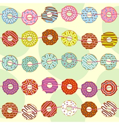 seamless pattern with garland of donuts vector image
