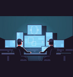 security workers watching video surveillance vector image