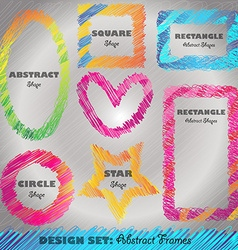 Set of Colorful Doodled Frames vector