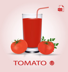 Set of tomato juice and fresh ripe tomatos vector