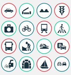 shipment icons set with zebra crossing bus train vector image