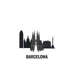 skyline barcelona flat des vector image