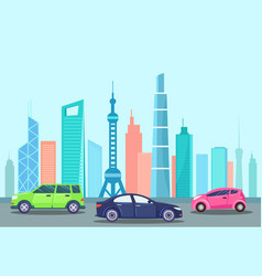 smart car transport in city vehicle automobile vector image