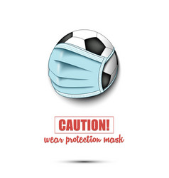 Soccer ball with a protection mask vector