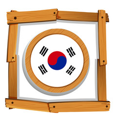 South korean flag in round frame vector