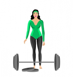 Sportswomen with dumbbell vector