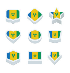 St vincent amp the grenadines flags icons and vector