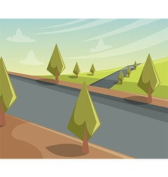 Summer landscape scene with trees and road vector