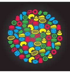 Sweet desserts color icons in circle eps10 vector